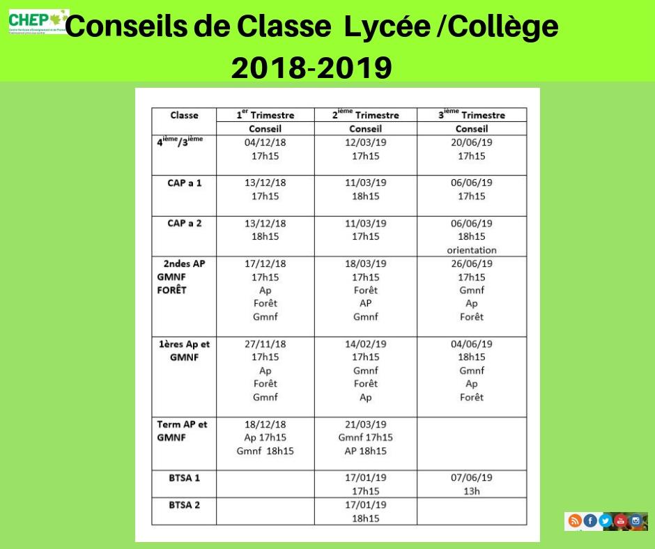 Calendrier des Conseils de classe lycee/collège 2018-2019
