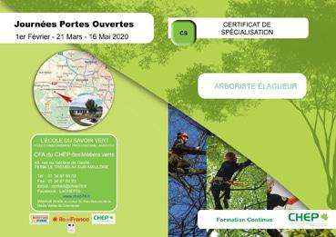Plaquette Certificat de spécialisation en « élagage » : Arboriste-Elagueur en formation professionnelle