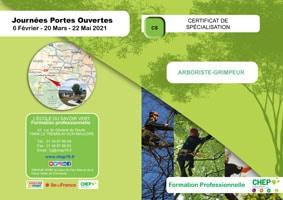 Plaquette Certificat de Spécialisation - Arboriste Elagueur - niveau IV en formation professionnelle