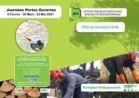 Plaquette BPA, Option travaux Forestiers, Spécialité Bûcheronnage  en formation professionnelle