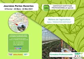 PLaquette CAPa Métiers de l'agriculture, Option : Production Horticole  en formation professionnelle
